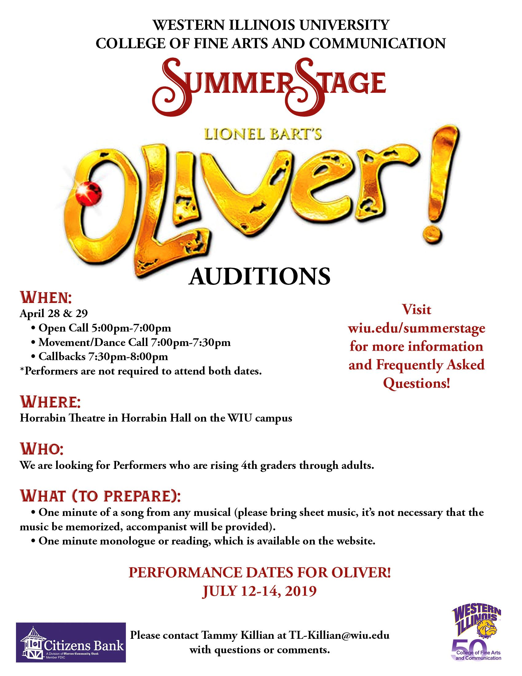 Oliver audition flyer